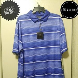 PGA Tour golf polo with blue and white stripes